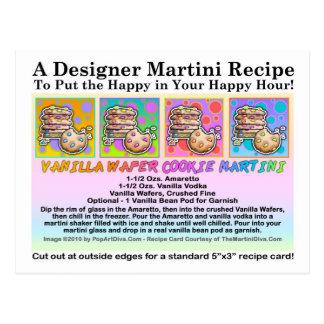Vanilla Wafer Cookie Martini Recipe Card Postcard