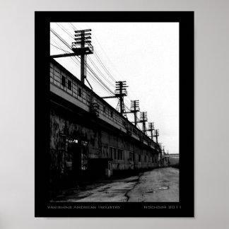 Vanishing American Industry Urban Industrial B&W Poster