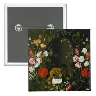 Vanitas Still Life with Flowers 2 Inch Square Button