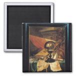 Vanitas with a Crystal Ball 2 Inch Square Magnet