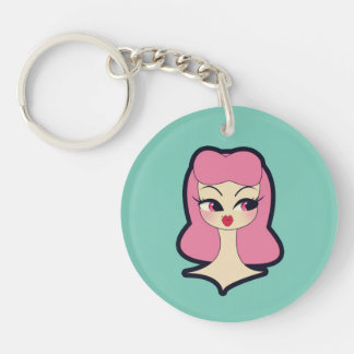 Vanity Blue Pink Hair Key chain