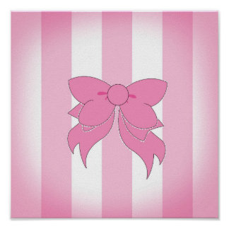 Vanity Bow Stripes poster 11 x 11