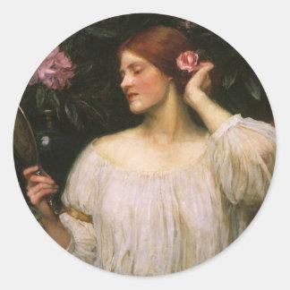 Vanity by Waterhouse, Vintage Victorian Portrait Classic Round Sticker