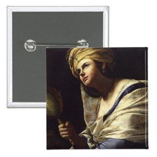 Vanity, c.1650-70 (oil on canvas) pinback button