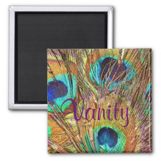 Vanity, Peacock 2 Inch Square Magnet