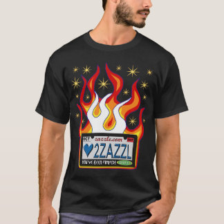 Vanity Plate: Love to Zazzle with Flames and Stars T-Shirt