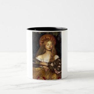 Vanity Pre-Raphaelite woman Two-Tone Coffee Mug