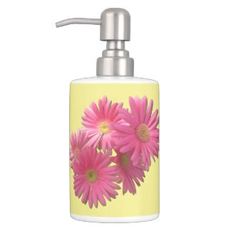 Vanity Set - Dark Pink Gerbera Daisies Toothbrush Holder