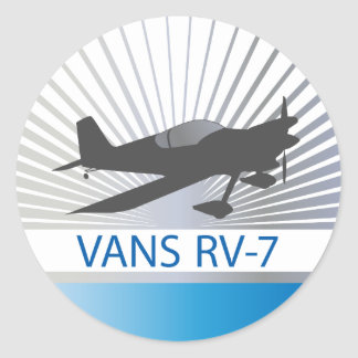 Vans RV-7 Airplane Classic Round Sticker