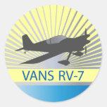 Vans RV-7 Airplane Round Sticker