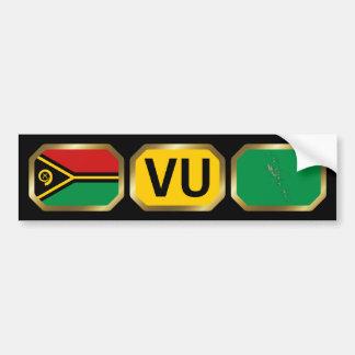 Vanuatu Flag Map Code Bumper Sticker Car Bumper Sticker