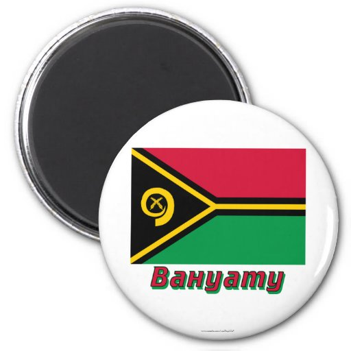 Vanuatu Flag with name in Russian Magnets