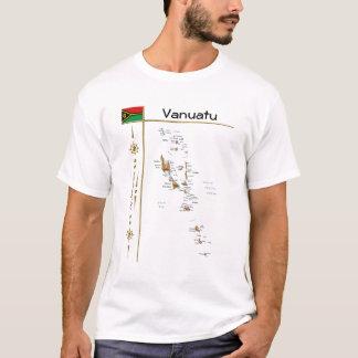 Vanuatu Map + Flag + Title T-Shirt