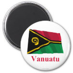 Vanuatu Waving Flag with Name 2 Inch Round Magnet