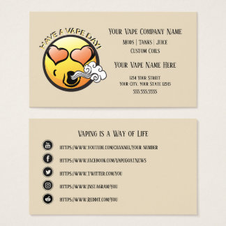 VAPE    Happy Vaping Business with Social Media Business Card