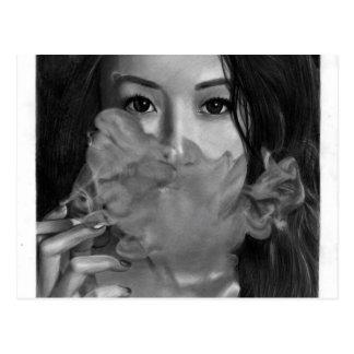 Vape Lady Smoking Hot Design Postcard