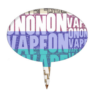 Vape On Typography Tan Turquoise Cake Topper