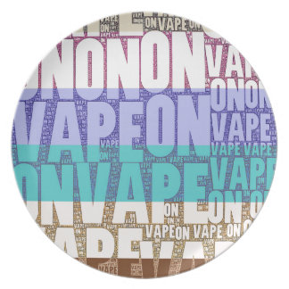 Vape On Typography Tan Turquoise Dinner Plate