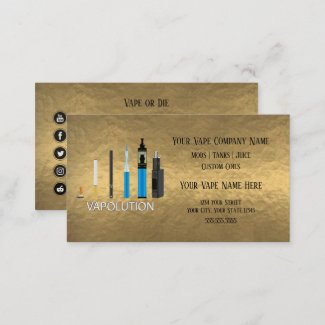 Vapolution Gold Custom Vape Shop Business Cards