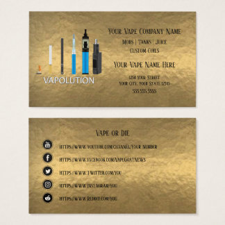 VAPE    Vapolution Gold  Business Social Media Business Card