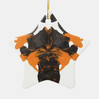Vapid Orange Inkblot Design Ceramic Ornament