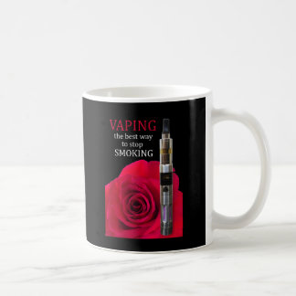 Vaping y flor color de rosa taza básica blanca
