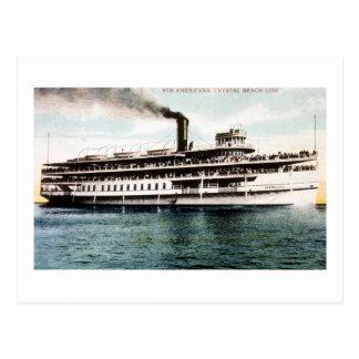 Vapor americana, línea cristalina de la playa tarjetas postales