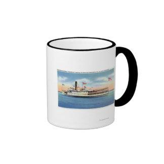 Vapor de Ticonderoga que sale del puerto Burlingto Taza De Café