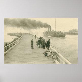 Vapor del vintage el buque correo de Dover a Osten Impresiones