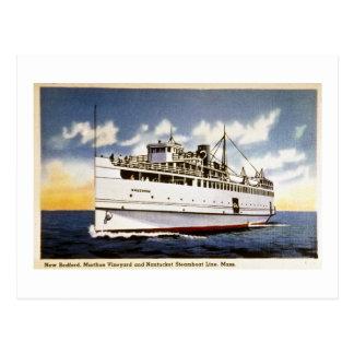 Vapor Naushon línea del barco de vapor de Nantuck Tarjetas Postales