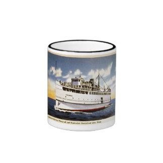 Vapor Naushon, línea del barco de vapor de Nantuck Tazas De Café
