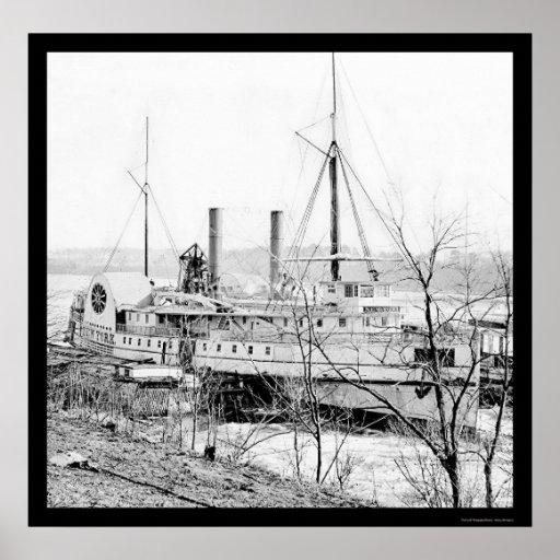 Vapor Nueva York en el aterrizaje 1865 de Aiken Poster