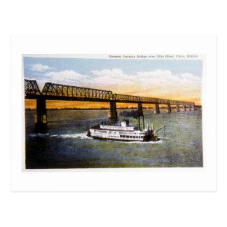 Vapor que pasa el puente, el río Ohio, El Cairo, Tarjetas Postales