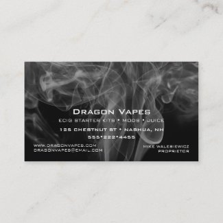 Vape Plume of  Vapor Smoke Black & White Business Cards