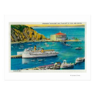 Vapores Catalina y Avalon en el embarcadero, y Tarjeta Postal