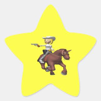 Vaquera 2 pegatina en forma de estrella