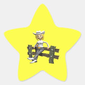 Vaquera 4 pegatina en forma de estrella