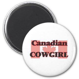 Vaquera canadiense imán redondo 5 cm