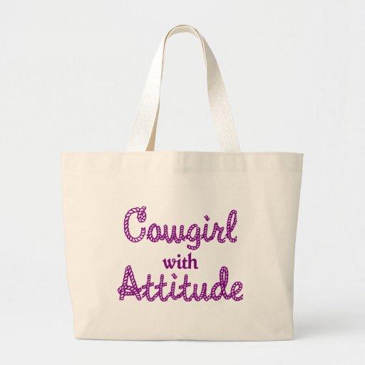 Vaquera con el bolso de la actitud bolsa tela grande