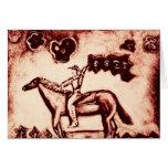 Vaquera con la bandera de la flor tarjetas
