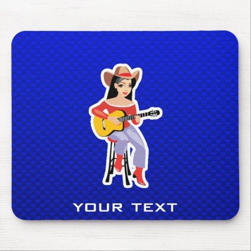 Vaquera con la guitarra; Azul Alfombrillas De Ratones