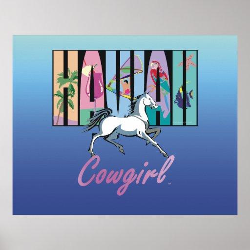 Vaquera de Hawaii de la CAMISETA Poster