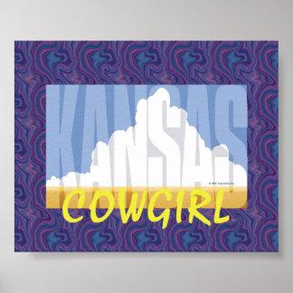 Vaquera de Kansas de la CAMISETA Posters