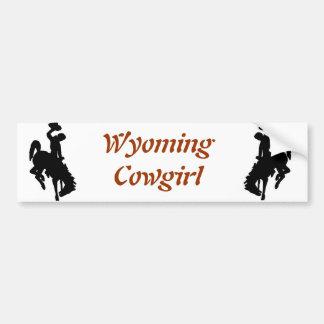 Vaquera de Wyoming Pegatina De Parachoque