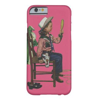 Vaquera del chica del vintage que mira el espejo funda de iPhone 6 barely there
