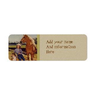 Vaquera del vintage etiqueta de remite