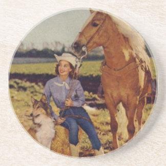 Vaquera del vintage posavasos personalizados