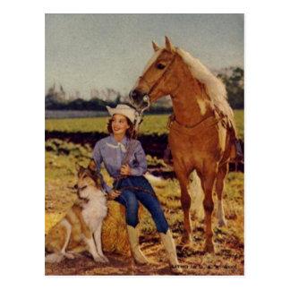 Vaquera del vintage postal