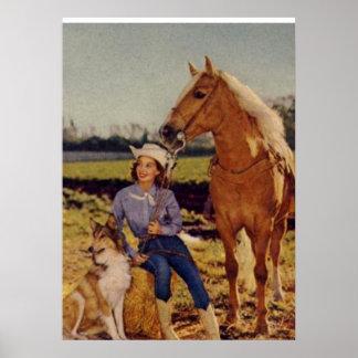 Vaquera del vintage póster