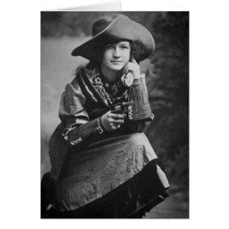 Vaquera del vintage que presenta con su seis tarjeta de felicitación
